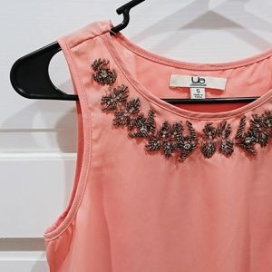 Embellished Sheer Pink Sleeveless Blouse